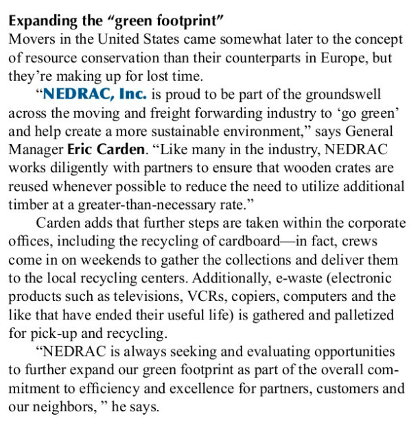NEDRAC Featured in Article on Green Initiatives in the Moving Industry