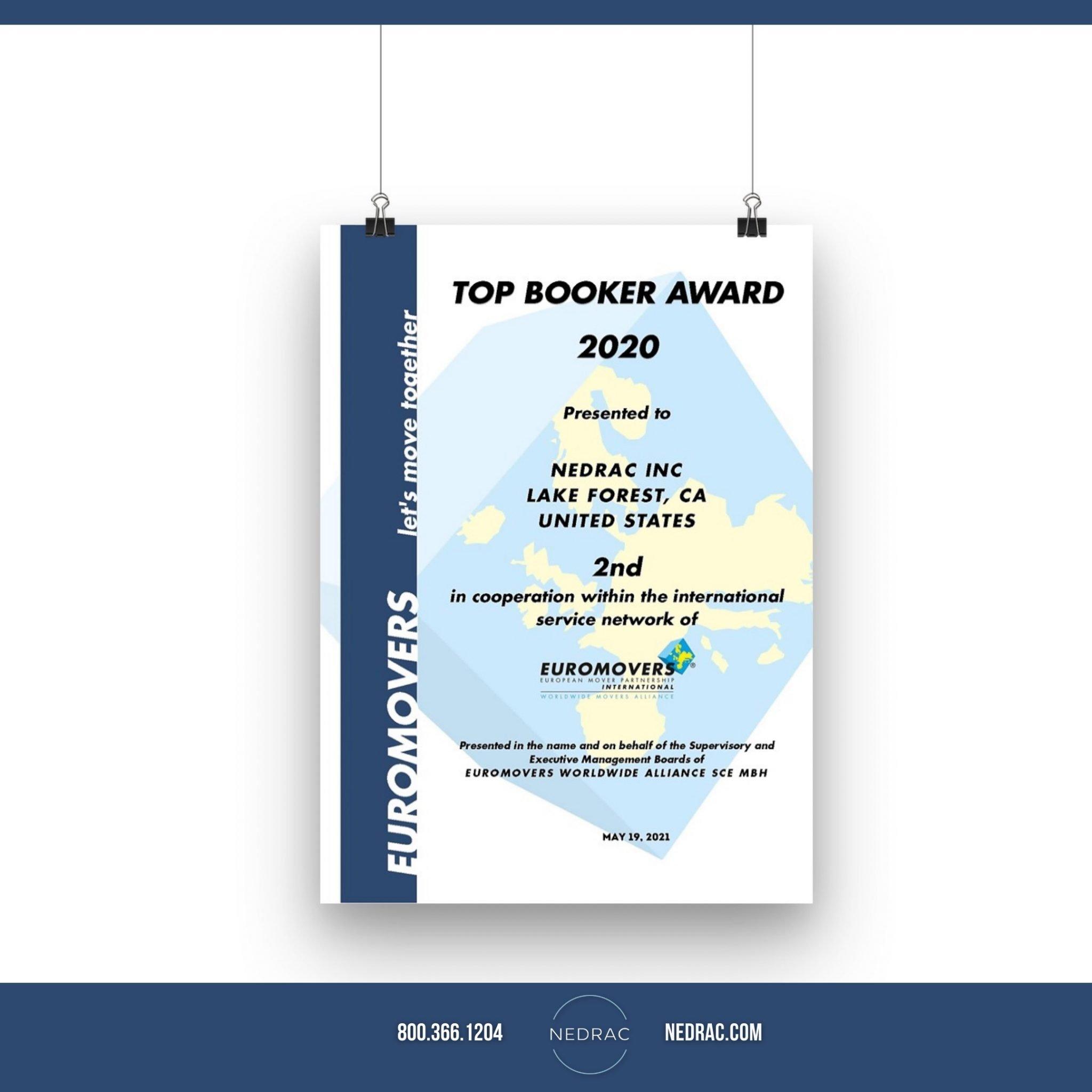 NEDRAC Receives EUROMOVERS Top Booker Award
